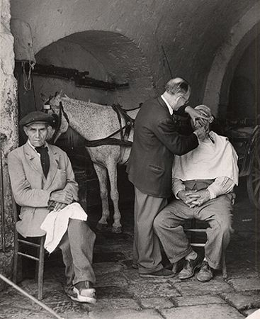 A Close Shave at the Stable, Naples, 1949 - by Herbert List (1903 – 1975), German