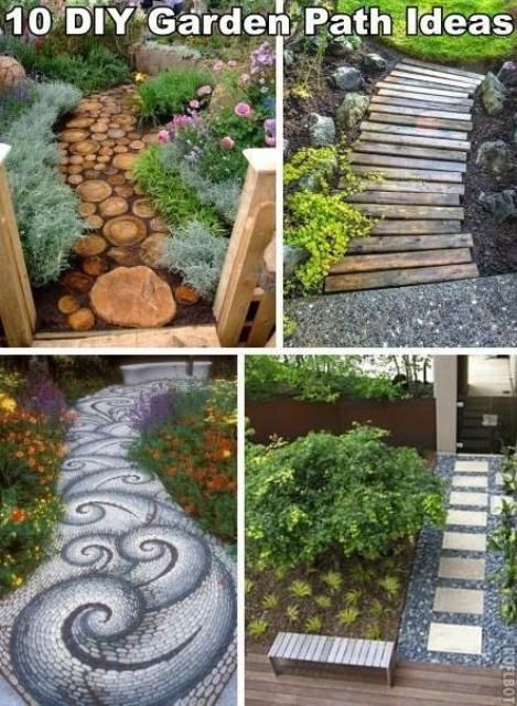 20 DIY Outdoor Decor  path for woodland area - love that wooden board one!