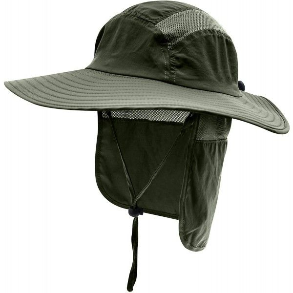 Mens Upf 50 Sun Protection Cap Wide Brim Fishing Hat With Neck Flap Army Green C518u64m6nk Fishing Hat Wide Brimmed Mens Sun Hats
