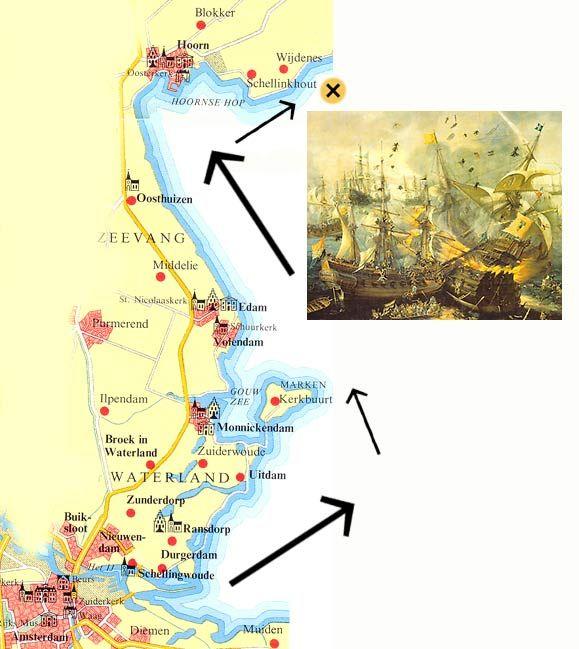 De geuzen hakten de Spaanse vloot uit Amsterdam in de pan bij Hoorn.