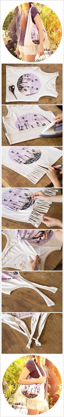 Réaliser un sac à franges Hippie avec un t-shirt sans faire de Couture!