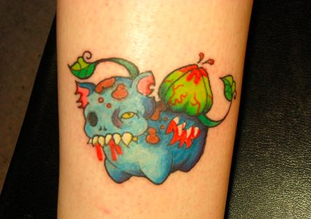subtle scary pokemon tattoo zombie bulbasaur