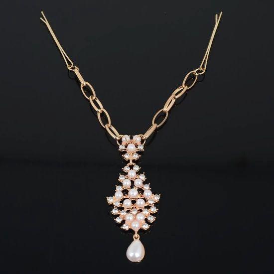 1PC Hot Sale Chic Gold Pearl Flower Crystal Drop Bindi Hair Clip Tikka Indian Head Jewelry Free Shipping
