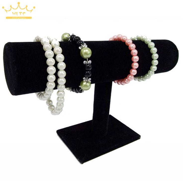 Draagbare Organizer Black Velvet Armband Ketting Chain Horloge T-Bar Rack Sieraden Display Standhouder Rack Gratis Verzending