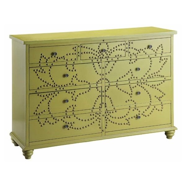 Ian Light Green Solid Wood Accent Chest