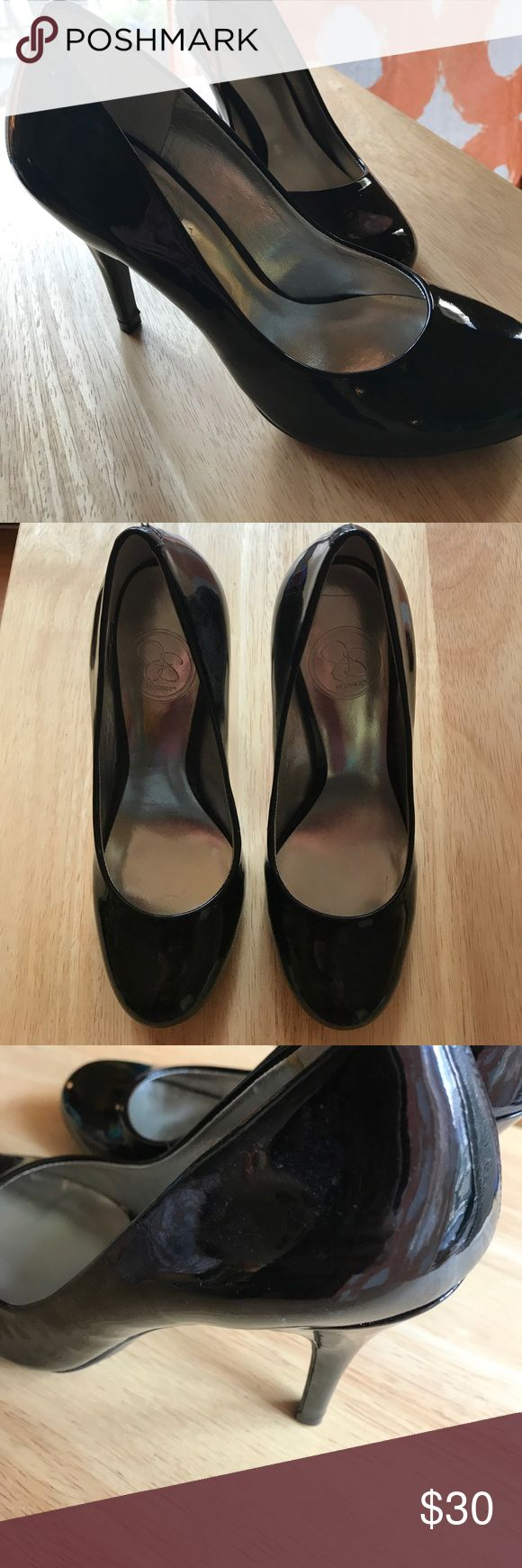 "Jessica Simpson Black Patent Heels Shoes 6 NEW This is a pair of black patent heels by Jessica Simpson. Size: 6B. Heel measures approx 3.75"" high. These are brand new without box; they were tried on a few times in my apartment, but never worn outside. Jessica Simpson Shoes Heels"