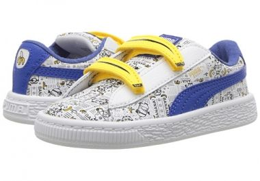 Puma Kids Minions Basket V shoes that are part of the Puma X Minions collection of shoes by Puma and they not only look really smart and really cute for a toddler to wear but are great for kids!<br /><br /> With their easy on and easy off style of we