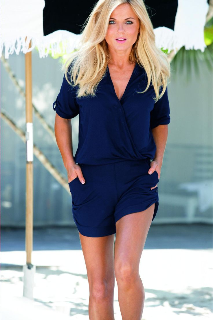 Geri Halliwell blue romper swim wear designer collection Next
