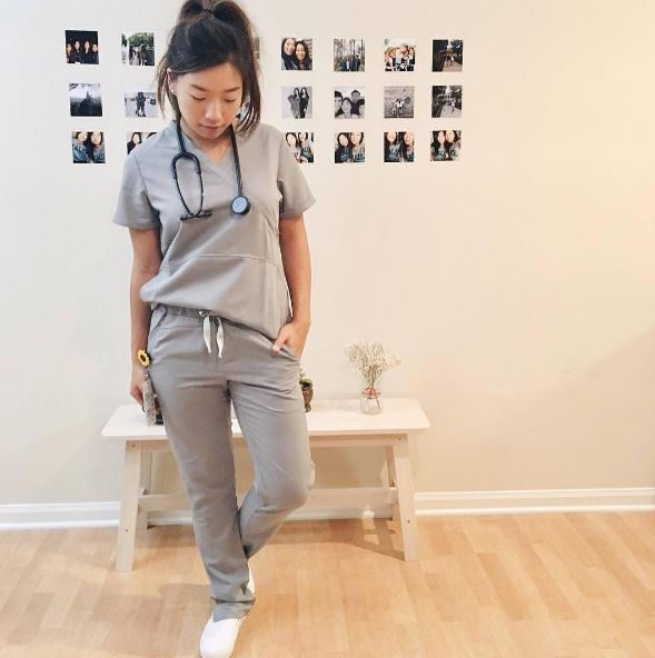 Clara rocking our special edition limestone scrub set. We'll be launching special edition scrubs later this year!