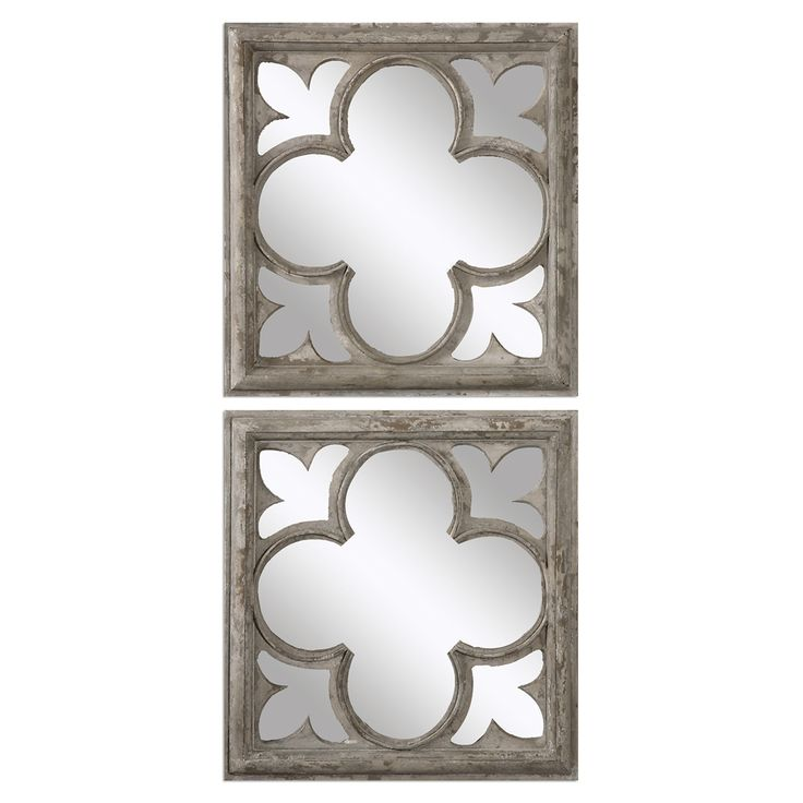 uttermost set of 2 vellauni wall mirror heavily distressed white finish wood square shape - Uttermost Mirrors