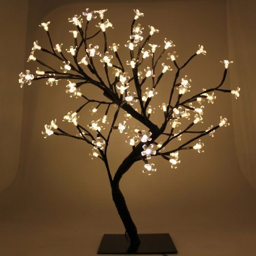 outdoor blossom tree led lights. 2ft (60cm) pre-lit warm white 96 led illuminated cherry blossom tree with outdoor led lights