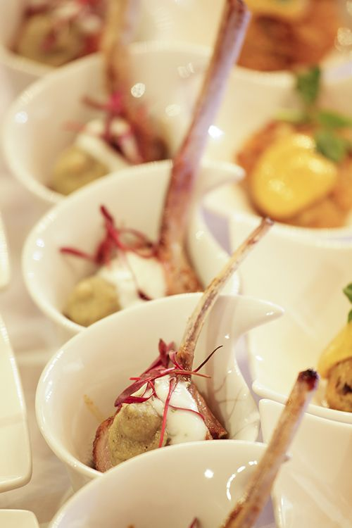 One of the warm canapes for mains; Char sui Lamb with smoked aubergine and Bulgarian yoghurt #StyleNight