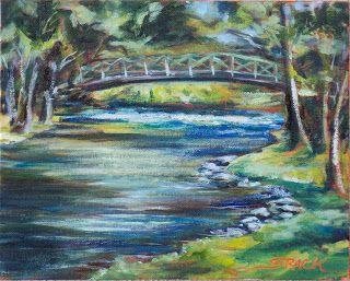 Cedarburg Bridge, painted en #pleinair with Grumbacher Pre-Tested Oils on 8x10 Fredrix canvas panel. $195. #art