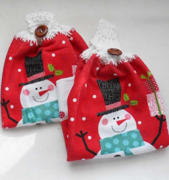 Snowman Kitchen Hand Towels/Crocheted Tops of by BAGLADYFROMTHEBAY