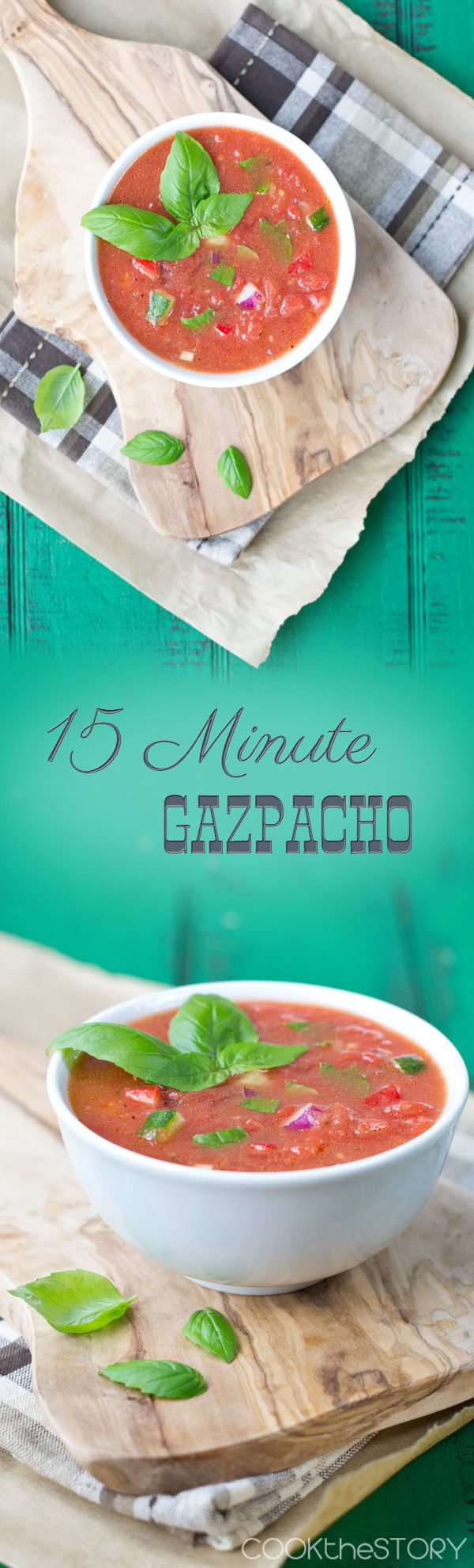 An easy Gazpacho recipe perfect for the summer months ahead! - This chilled soup uses fresh summer vegetables and is ready in 15 minutes