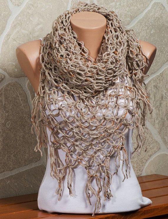 On Sale Beige Crochet Scarf Autumn Fall Scarf Fashion Scarf Or