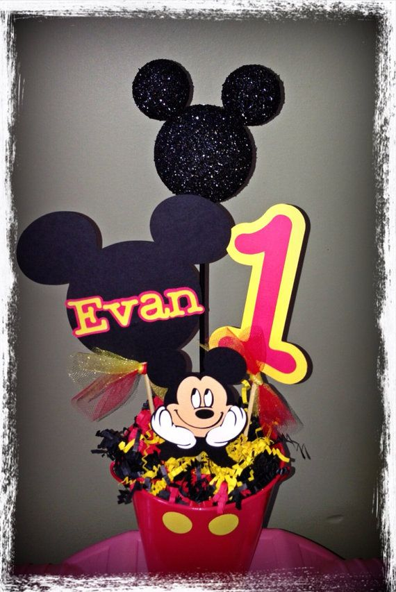 Mickey Mouse Birthday Decorations Set of 4 by RaeofSunshinedesign