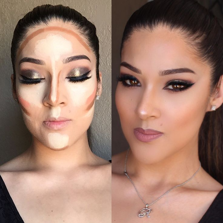 Contour using the Anastasia Beverlyhills cream contour kit in medium. No powder and no blush added.