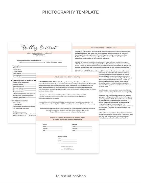 Very detailed Wedding Contract Photography Form Template to help present you as a professional business when meeting with your clients. The template is very easy to edit using Photoshop and files are availeble immediately after purchase. The colors can be changed to match your branding and theme. Just edit, print and youre all set.  ═════════════════════════════════  WHAT YOU GET o 3 easily customizable PSD files - Covers Permissions, Deposit and Payments, Copyright Clause, Mileage and Meals ...