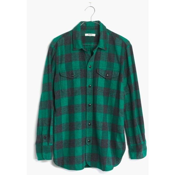 MADEWELL Flannel Cargo Workshirt in Buffalo Check (£55) ❤ liked on Polyvore featuring tops, shirts, flannel, long sleeves, plaza green, green flannel shirt, green shirt, flannel shirt, green long sleeve shirt and flannel work shirts