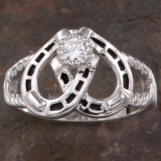 horseshoe wedding rings horseshoe cubic zirconia ring montana silversmiths 4851