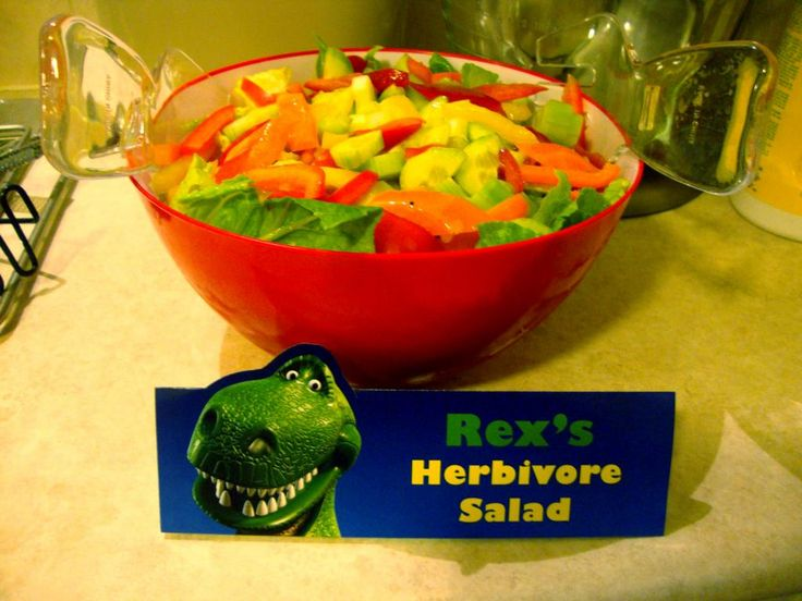 Great food ideas..Rex's Herbivore Salad, Buzz Lightbeer (do rootbeer), Hamm's pigs-in-a-blanket