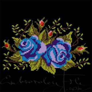 Machine embroidery design: Roses II B. Cross stitched roses.