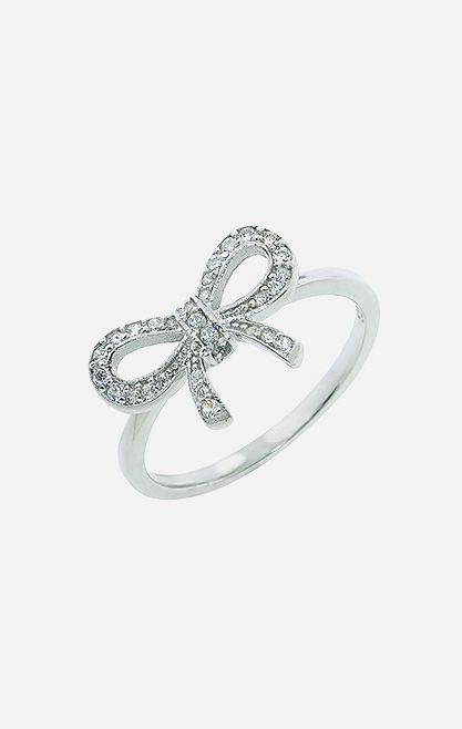 Sterling Silver Pavé Bow Ring