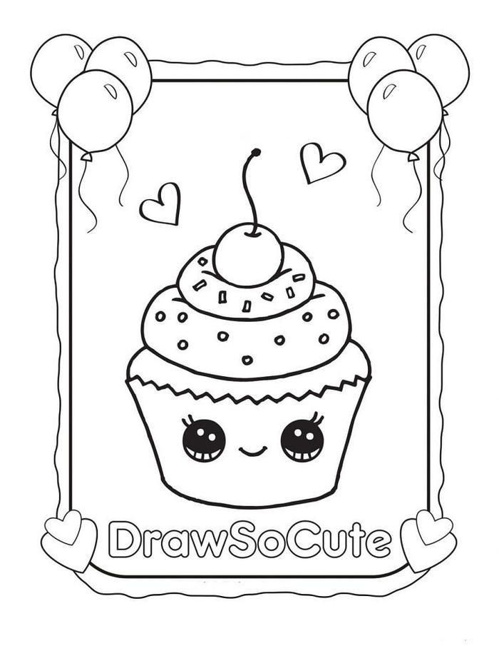 Kawaii Cupcakes Coloring Pages With Images Cupcake Coloring