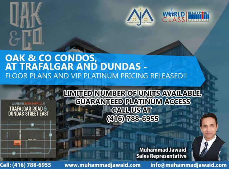 Oak & Co Condos, at Trafalgar and Dundas -  Floor plans and VIP Platinum pricing released!!! *Limited number of units available. ★★GUARANTEED PLATINUM ACCESS★★Call Us at (416) 788-6955 ✅Oak & Co. is an exciting new development at Trafalgar Road and Dundas Street East, in the heart of Oakville's Uptown Core. ✅Live in a beautifully designed building surrounded by cafés, restaurants, schools (including Sheridan College), parks and so much more. ✅The Uptown Core Terminal is just steps from Oak…