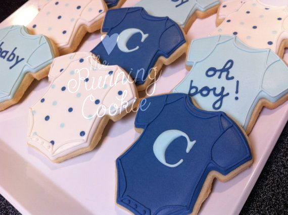 BABY BOY ONESIE Sugar Cookies/Favors by TheRunningCookie on Etsy, $28.00