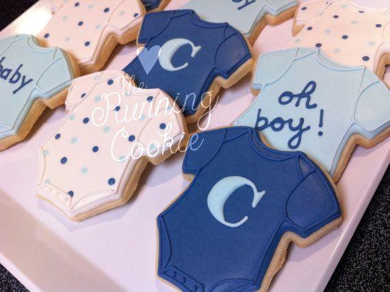 BABY BOY ONESIE Sugar Cookies/Favors by TheRunningCookie on Etsy, $26.00