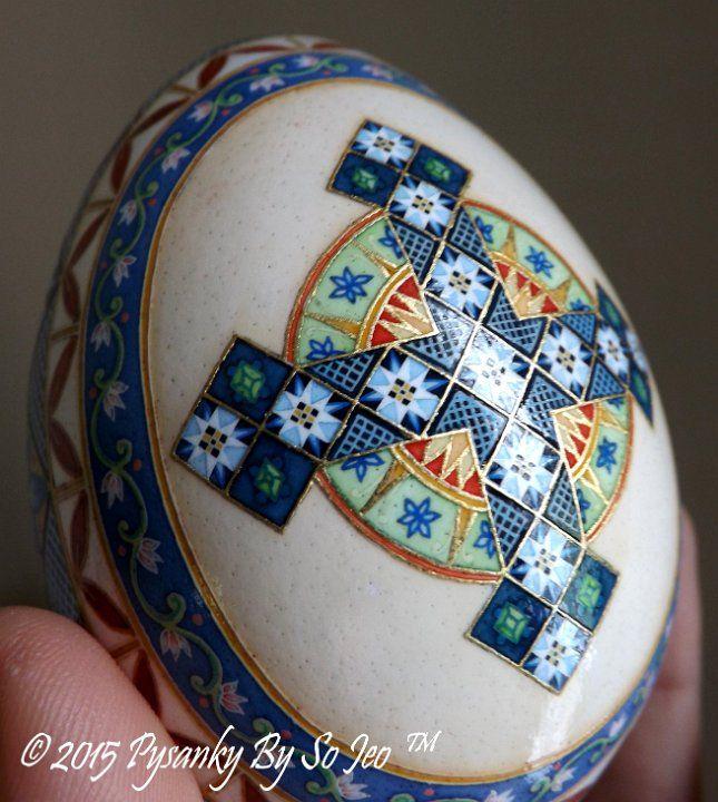 Madonna and Child Batik Art Ukrainian Style Easter Egg