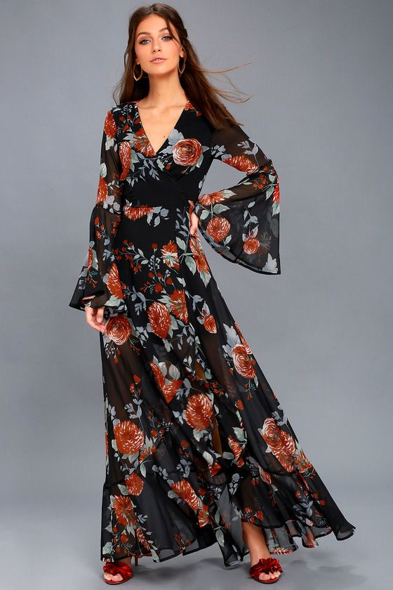 ddaa0eaa81 Petals on the Breeze Black Floral Print Maxi Dress 1