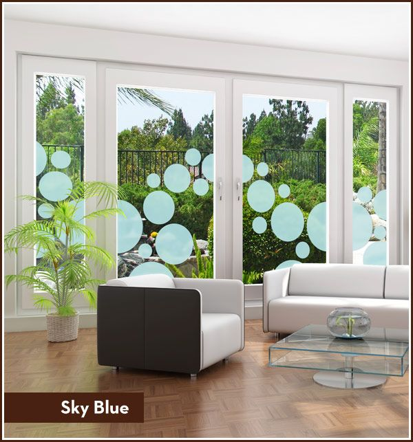 Colored Window Film Circles   Privacy Or Decorative See Through. Available  In 12 Different Colors