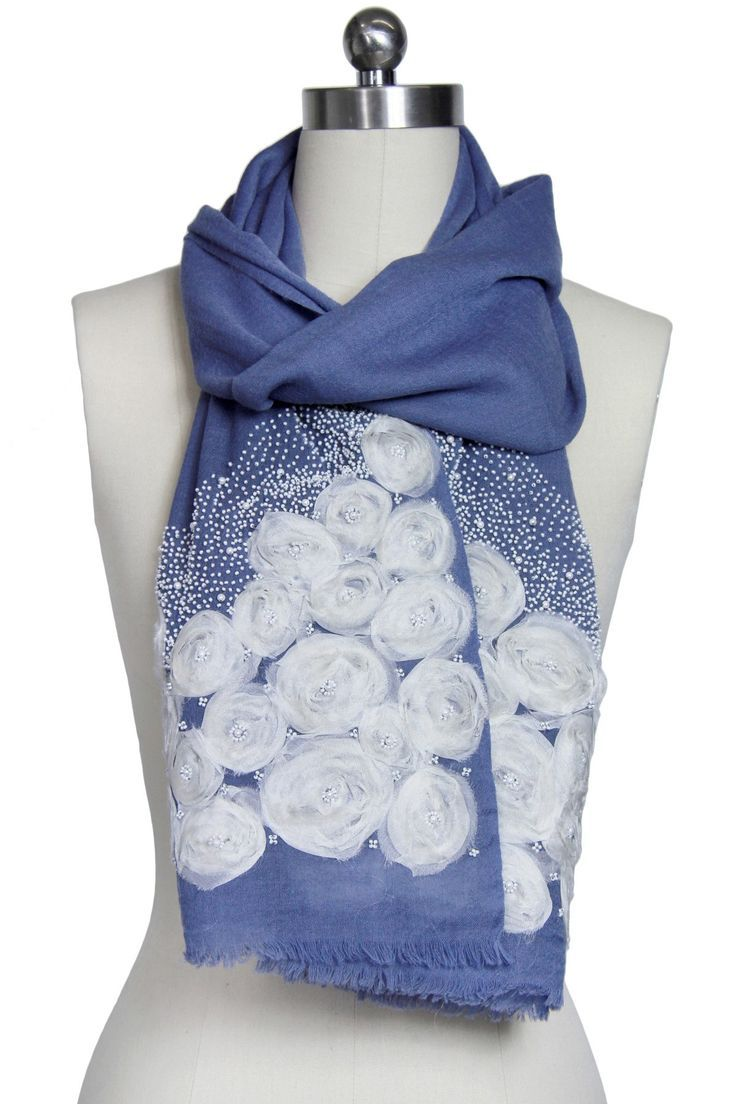 Saachi | Blue Rosettes Embroidered Wrap