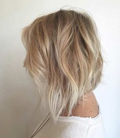 A Line Bob Haircut + Beige Blonde and Silver Blonde Balayage Highlights