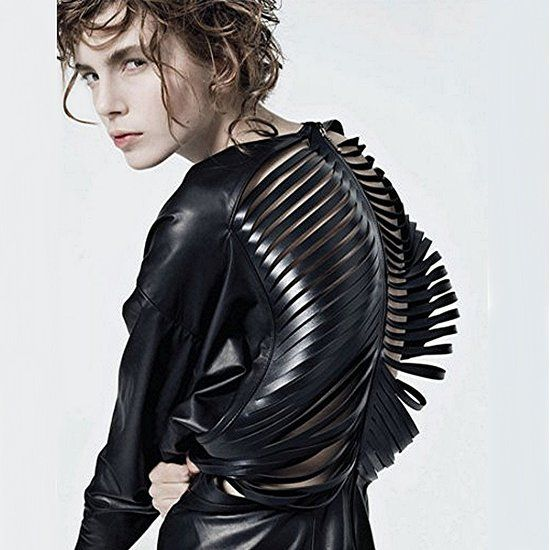 This reminds me of a trilobite. Clothing that becomes sculpture is genius.