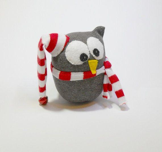 Christmas owl sock animal decoration plush by TreacherCreatures, $19.00