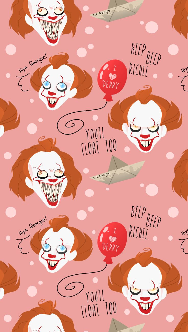 Drew some Pennywise tiled background for your tumblr page! free to use! Credit me please and thanks! CHECK OUT MY REDBUBBLE FOR STICKERS AND CASES OF YOUR FAVORITE CLOWN