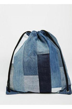Bolsos de mujer - Mochila de patchwork de denim con cordón ajustable