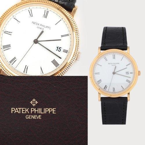 """Ceas Patek Philippe, model """"Calatrava"""", de mână, bărbătesc, din aur, în cutie originală 2002 aur galben 18 k, d=4 cm Valoare estimativă: € 5.000 - 7.000"""