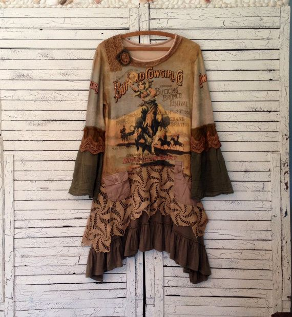 Reserved, Buffalo Cowgirl Tunic L/XL, Upcycled Clothing, Upcycled Tunic, Romantic Clothing, Wearable Art