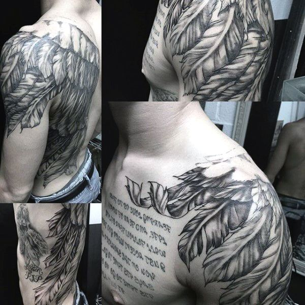 Quote And Wing Tattoos For Guys On Shoulder