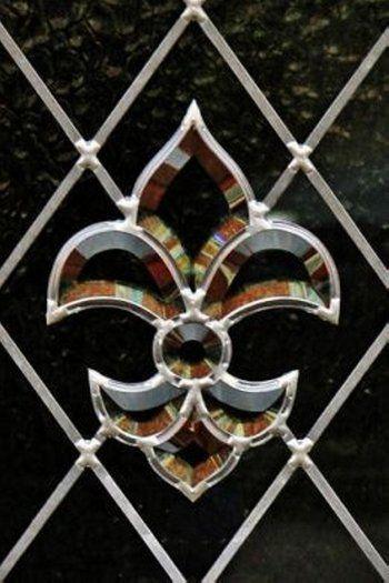 Fleur de Lis stained glass black