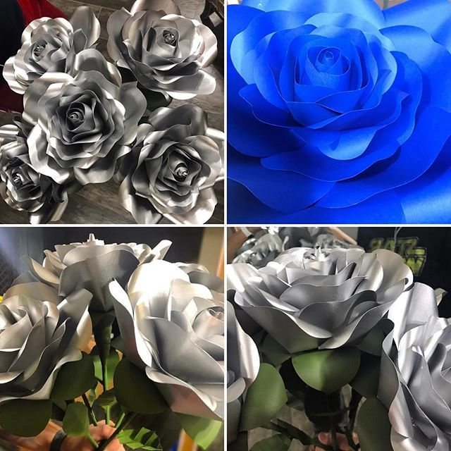 ✔️My royal blue and silver roses custom order, was finished and delivered to my local Las Vegas client last night! Made 5 White roses and spray painted them in silver, added a custom made stem and leaves to each one of them; then made some Royal Blue medium roses to be used as an accent on my clients event. Now, on to my next project!! ✂️✂️🎉 #paperfleurbyjennifer