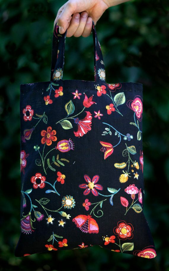 Tote Bag 40 x 33 cm Black Color Hand Cotton Linen Scandinavian Embroidery Folklore Folk Christmas Gift Cottage Green Red Purple Yellow Pink TRUE SCANDINAVIAN DESIGN