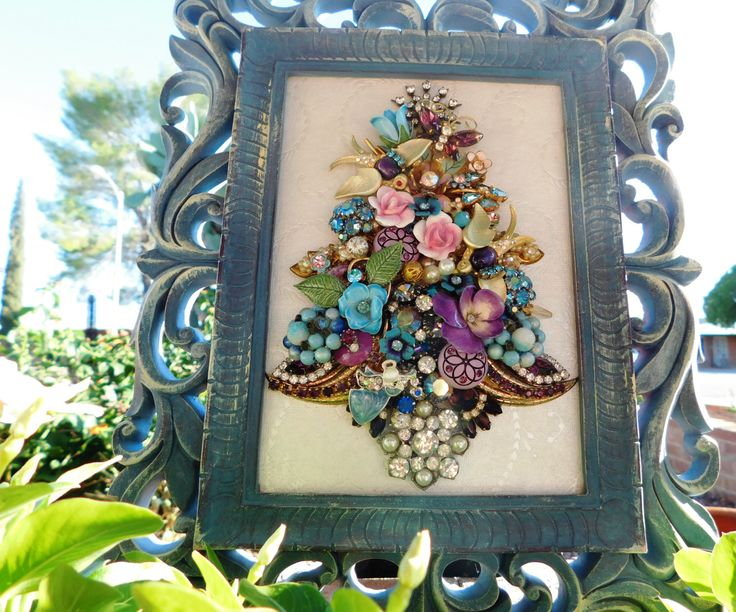 Floral Vintage Jewelry Collage Framed Christmas Tree with Songbirds Pins by QCbyToni on Etsy
