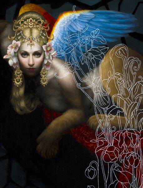 Japanese by birth, Chie Yoshii moved to the US, where she completed BFA at Massachusetts College of Art in 2000 and studied with Adrian Gottlieb from 2002 to 2008.Much of her work is inspired by the analogy between mythological tales and the human psychology.She currently lives and works in Los Angeles.