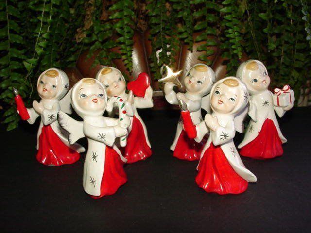 Set of 6 - vintage - CHRISTMAS ANGEL FIGURINES - made in Japan - 1950s or 1960s